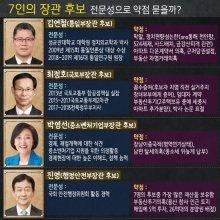 [인포그래픽]7인의 장관 후보, 전문성으로 약점 묻을까?