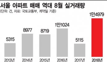 8월 서울 아파트 매매 '역대 최다'…원정투자 몰려
