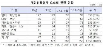 """금감원 """"개인신용평가 민원 3년간 1000건"""""""