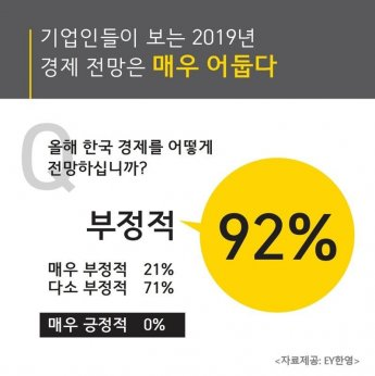 """기업인 92% """"2019년 경제 전망 어둡다"""""""