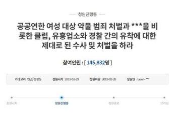 """'버닝썬 성폭행' 논란…""""여성 대상 약물범죄 처벌하라"""" 靑 청원 14만명"""