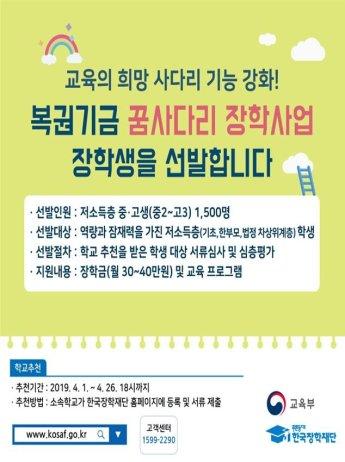 '복권기금' 재원으로…저소득층 중고생, 대학까지 장학금 지원