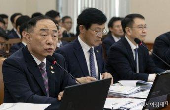 [포토] 국회 기재위 출석한 홍남기 부총리
