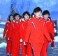 [ST포토] 북한 응원단 '옅은 미소 보이며'