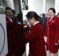 [포토] 취재진 바라보는 북한 패럴림픽 선수단