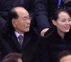 김영남-김여정과 대화하는 이희범 평창올림픽 조직위원장