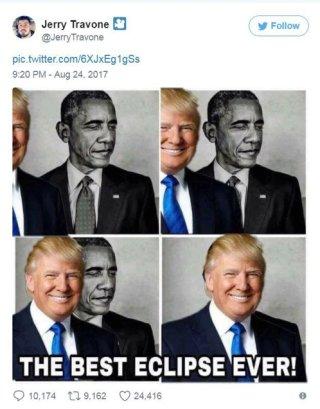 트럼프, 자신이 오바마 가리는 '개기일식 사진' 리트윗 화제