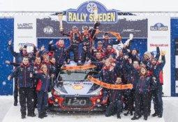 현대자동차, 2018 WRC 첫 우승…스웨덴 랠리서 1, 3위