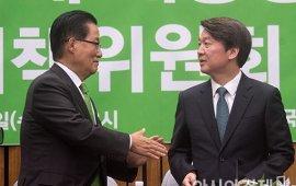 [포토]인사 나누는 박지원·안철수
