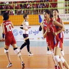 北여자 배구팀 밝은 표정