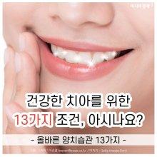 [카드뉴스]건강한 치아를 위한 13가지 조건, 아시나요?