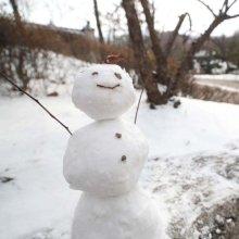 '늦겨울에 만난 눈사람, 반갑다'