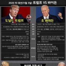[인포그래픽]2020 미 대선(11월 3일) 트럼프 VS 바이든