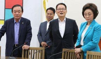 """니카이 만난 박지원 """"일본, 文 대통령 축사에 긍정적인 평가 내린듯"""""""