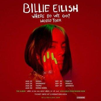 빌리 아일리시, 8월 23일 월드투어 서울 공연한다
