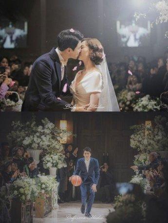 김승연 '농구공 튀기며 입장' 결혼식 사진 공개