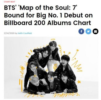 방탄소년단(BTS) '빌보드 200' 차트서 1위 전망...비영어권 최초