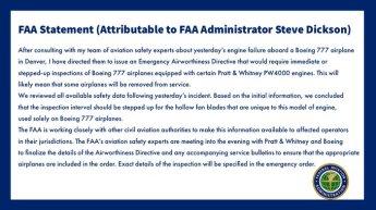 美FAA, '파편 추락' 보잉777 운항 잠정 중단…긴급 검사 명령