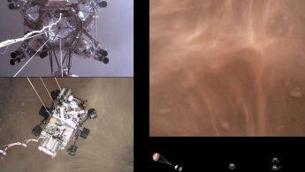 """[영상]""""사뿐히 사막에 내리듯""""…美 화성탐사선이 보내온 착륙 순간"""