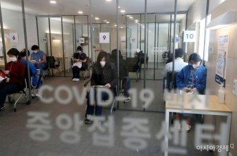 [포토] 화이자 백신 맞고 관찰실에서 대기하는 의료 종사자들