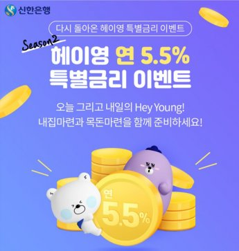 """신한銀 """"헤이영 고객에게 5.5% 적금 쏜다"""""""