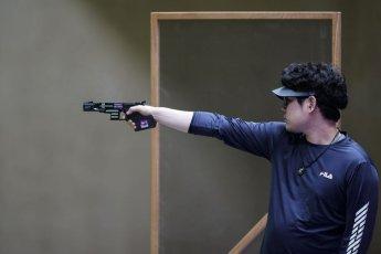 한대윤 사격 남자 25m 속사권총 첫날 4위