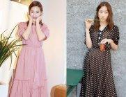 문가영, 핑크·도트 원피스