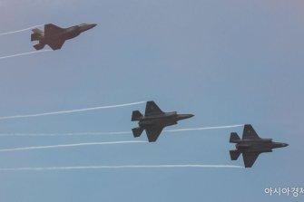 [포토]시범 비행 선보이는 F-35A