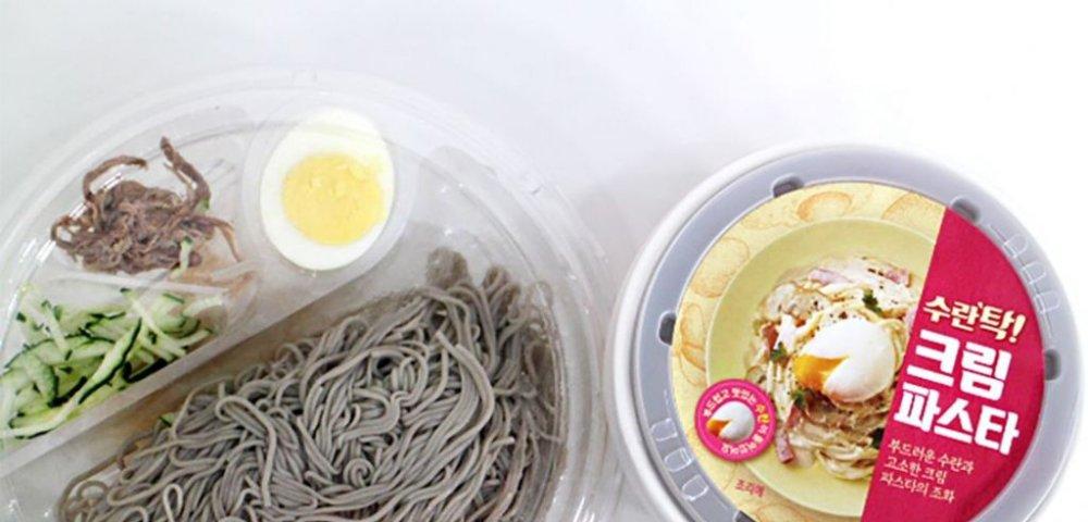 [에쓸신잡] 고기 물냉면, 수란탁 크림 파스타