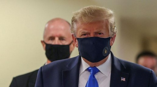 드디어 마스크 쓰고 등장한 트럼프
