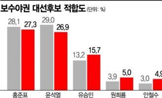 [아경 여론조사] 홍준표·윤석열 野 후보 적합도 낮아졌지만 여전히 '강세'